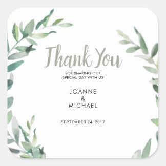 Sticker Carré L'olive d'aquarelle part de la faveur de Merci de