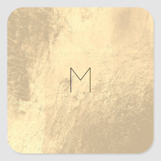 Sticker Carré L'or en cuir rougissent monogramme minimal de