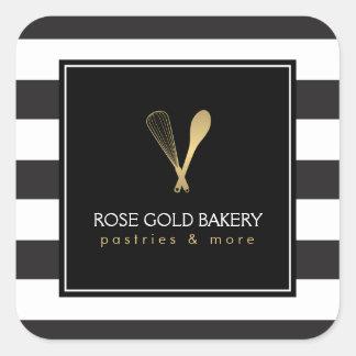 Sticker Carré L'or rayé Luxe battent la boulangerie de logo de