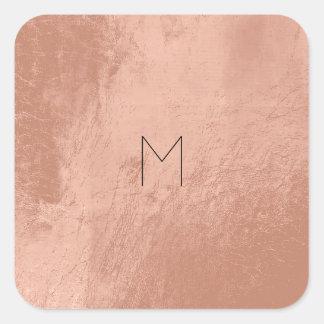 Sticker Carré L'or rose de cuir rougissent monogramme minimal en