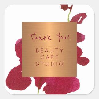 Sticker Carré L'orchidée métallique d'en cuivre de studio de