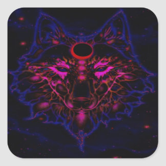 Sticker Carré Loup bleu au néon mythique