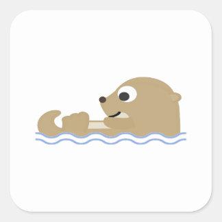 Sticker Carré Loutre de flottement mignonne