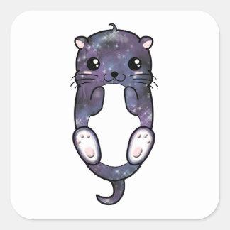 Sticker Carré Loutre de galaxie de Chibi