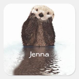 Sticker Carré Loutre mignonne dans l'eau