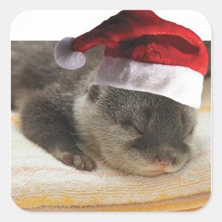 Sticker Carré Loutre somnolente de Noël