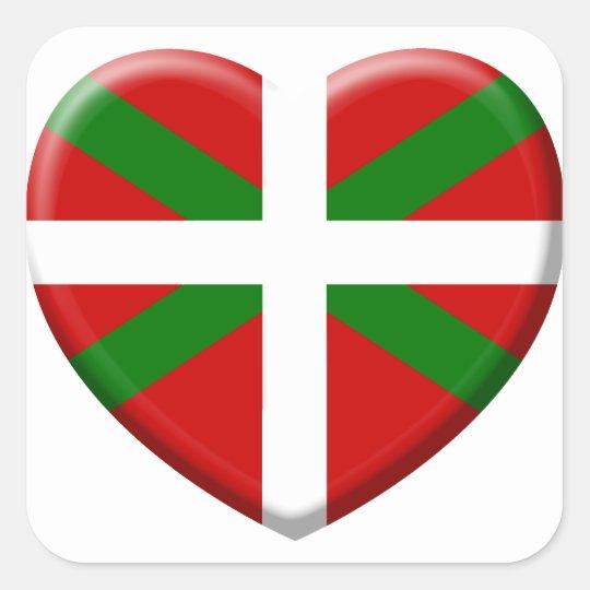 Sticker Carré love drapeau pays Basque