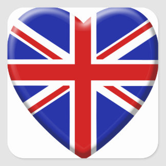 Sticker Carré love drapeau Royaume-uni Angleterre