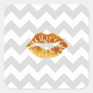 Sticker Carré Lt blanc gris Chevron, baiser de rouge à lèvres