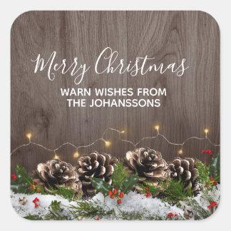 Sticker Carré Lumières de pins de pays et Noël en bois rustiques