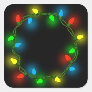 Sticker Carré Lumières rondes de Noël