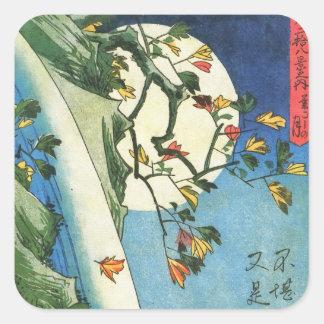 Sticker Carré Lune de Hiroshige au-dessus des beaux-arts de