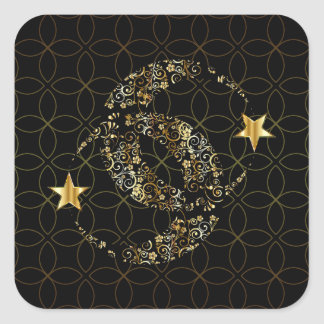 Sticker Carré Lune et étoile florales de Wiccan