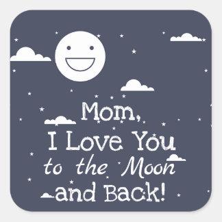 Sticker Carré Lune heureuse je t'aime à la lune et aux