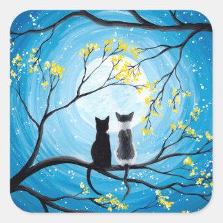 Sticker Carré Lune lunatique avec des chats