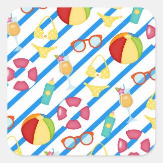 Sticker Carré Lunettes de soleil de maître nageur de cocktail de