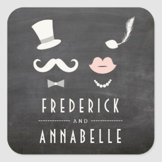 Sticker Carré M. et Mme Moustache Lips Vintage Wedding de