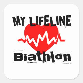Sticker Carré Ma ligne de vie biathlon folâtre des conceptions
