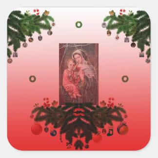Sticker Carré Madonna et enfant [Noël]