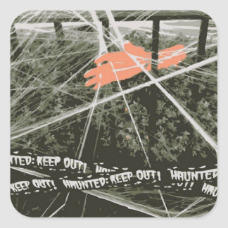 Sticker Carré Maintenez la main de Halloween dans les