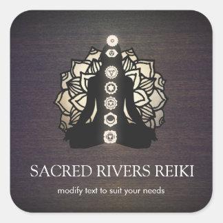 Sticker Carré Maître de Lotus Chakra Reiki d'or et professeur de