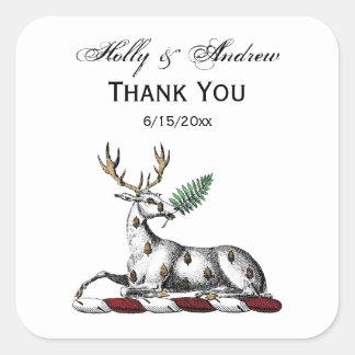 Sticker Carré Mâle de cerfs communs avec l'emblème héraldique de