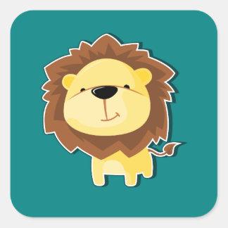 Sticker Carré Mâle heureux de lion de bande dessinée avec