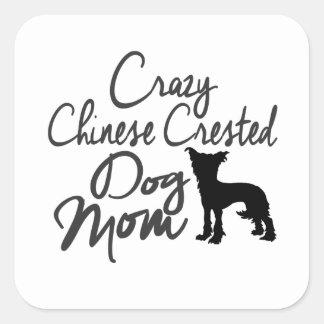 Sticker Carré Maman crêtée chinoise folle de chien