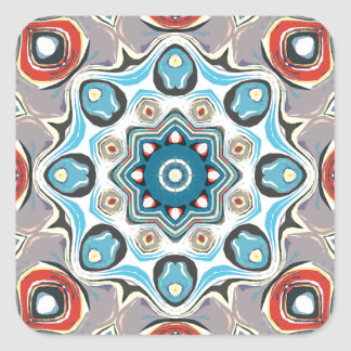 Sticker Carré Mandala abstrait de pastels