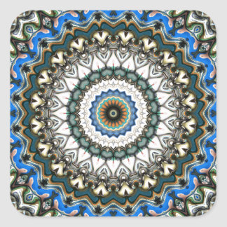 Sticker Carré Mandala coloré fleuri