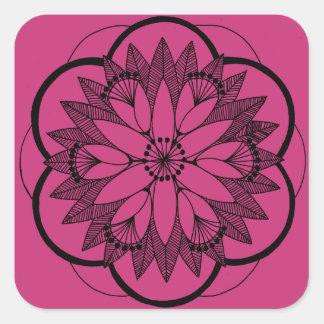 Sticker Carré Mandala fuchsia de bouquet d'étang