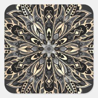 Sticker Carré Mandala noir et brun géométrique tribal
