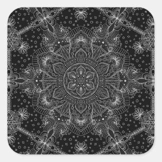 Sticker Carré Mandala oriental de zen noir et blanc