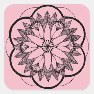 Sticker Carré Mandala rose de bouquet d'étang
