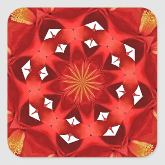 Sticker Carré Mandala rouge de camélia