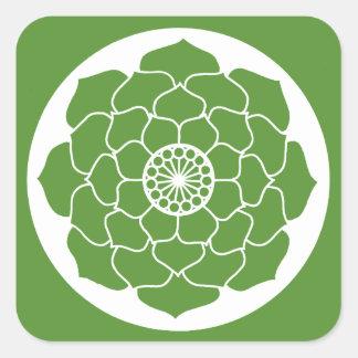 Sticker Carré Mandala vert de Lotus