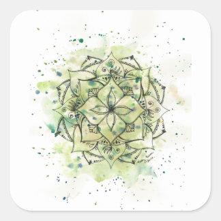 Sticker Carré Mandala vert d'éclaboussure