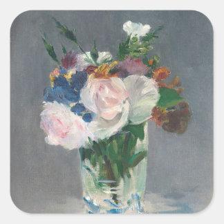 Sticker Carré Manet | fleurit dans un vase en cristal, c.1882