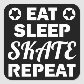 Sticker Carré Mangez la répétition de patin de sommeil, rouleau