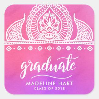 Sticker Carré Manuscrit de Bohème rose de diplômé de dessin de