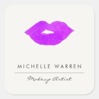Sticker Carré Maquilleur pourpre audacieux d'aquarelle de lèvres