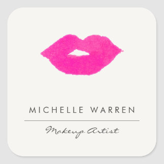 Sticker Carré Maquilleur rose audacieux d'aquarelle de lèvres