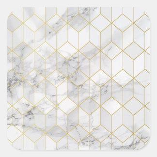 Sticker Carré Marbre blanc avec le motif de cube en or