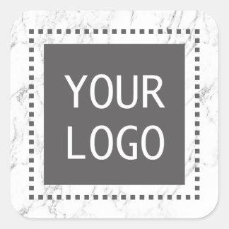 Sticker Carré Marbre blanc moderne de logo fait sur commande