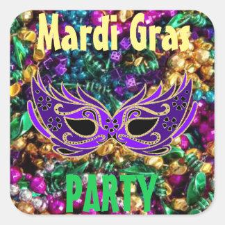 Sticker Carré Mardi gras d'autocollant d'étiquette d'ensemble de