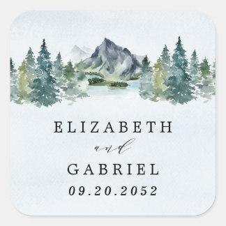 Sticker Carré Mariage à thème rustique élégant à l'aquarelle de