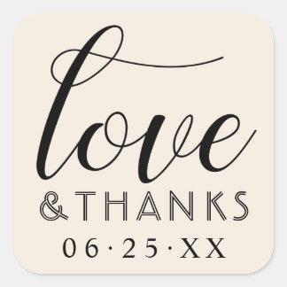 Sticker Carré Mariage blanc chaud d'amour et de mercis |