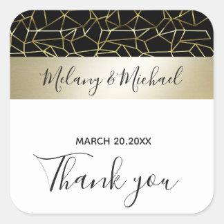 Sticker Carré Mariage blanc de /Black d'or de luxe géométrique