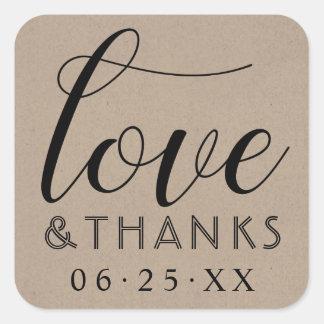 Sticker Carré Mariage d'amour et de mercis | Papier d'emballage