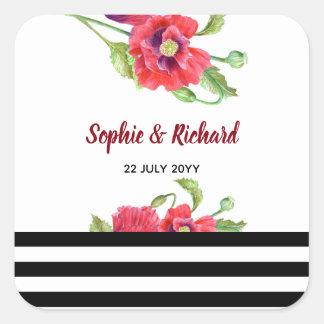 Sticker Carré Mariage floral sauvage de pavots rouges